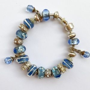 Blue Beaded Silver Crystal Charm Bracelet